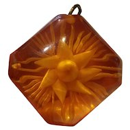 Vintage Prystal Apple Juice Bakelite Reverse Carved Pendant