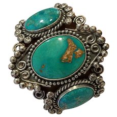 Vintage Native American Three Stone Turquoise Extra Wide Cuff Bracelet