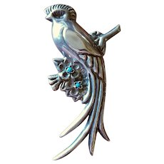 HUGE Mexican Sterling & Turquoise Quetzal Bird Brooch 4 3/4 in.
