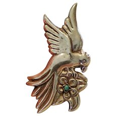 Vintage Mexican Sterling & Turquoise Bird Brooch Ve Juarez