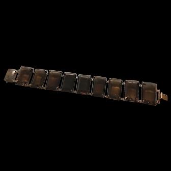 Art Deco Smokey Rock Quartz Japan Silver Bracelet