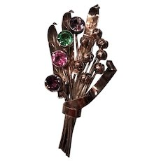 Vintage Hobe Sterling & 14 kt Vermeil Rhinestone Flower Brooch
