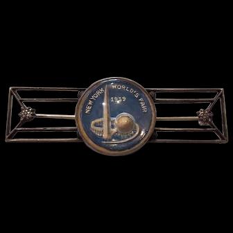 New York 1939 World's Fair Sterling & Essex Crystal Pin