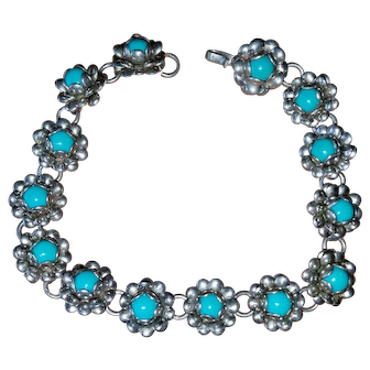 Vintage Mexican Silver & Faux Turquoise Rose Flower Bracelet
