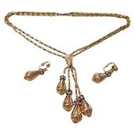 Vintage Hattie Carnegie Signed Rhinestone & Gold-Tone Necklace Earrings Set