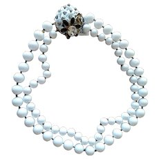 Vintage Miriam Haskell Milk Glass Necklace with Rhinestone Clasp