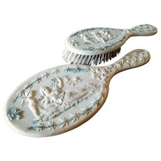 Rare Victorian Cherub Celluloid Hand Mirror & Brush Vanity Set