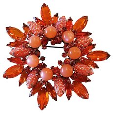 Vintage Juliana D&E Orange Corn Kernel Rhinestone Moonglow Brooch