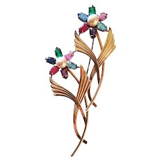 Retro Symmetalic Sterling & 14K Flower Brooch