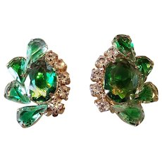 Vintage Green & Clear Rhinestone Climber Earrings