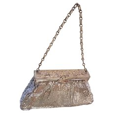 Whiting & Davis Silver Tone Mesh Handbag Purse Floral
