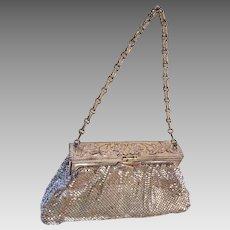Whiting & Davis Silver Tone Mesh Handbag Purse Floral