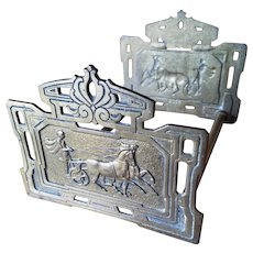 Art Deco Brass Expanding Book Ends Rack Roman Horse Chariot