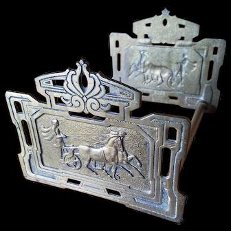 Art Deco Brass Expanding Book Ends Rack Roman Horse Chariot