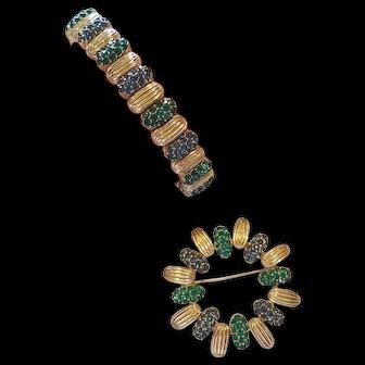 Vintage Designer Signed Ciner Rhinestone Jeweled Pave Slide Bracelet & Brooch Set