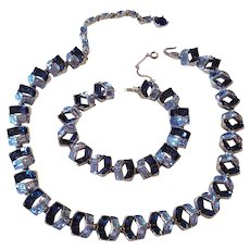 Vintage Bogoff Blue Rhinestone Necklace and Bracelet Set