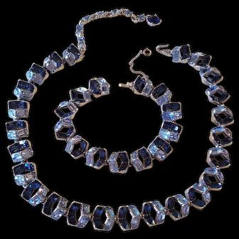 Vintage Bogoff Blue Rhinestone Necklace and Bracelet Set