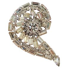 Large Vintage Clear Rhinestone Paisley Brooch 3.25 inches