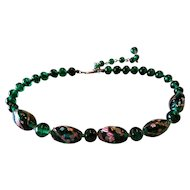 Early Coro Emerald Green Art Glass Necklace