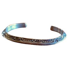 Early Stamped Native American Silver Cuff Bracelet Heavy