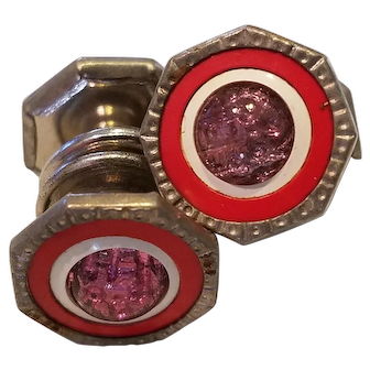 Vintage 1920s Snap Link Cuff Links Glitter Pink, Red & White