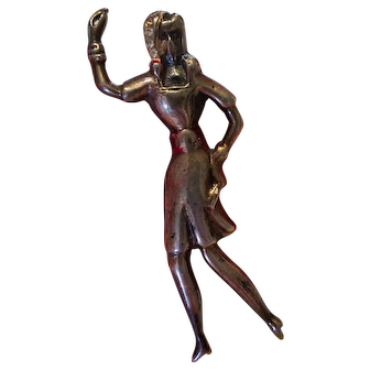 Vintage Sterling Figural Dancing Lady Brooch