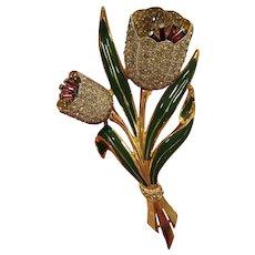Vintage Coro Adolf Katz Trembler Rhinestone Enamel Tulip Brooch Book Piece