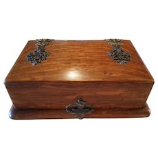 Victorian Oak Wooden Dresser Vanity Box Brass Decoration