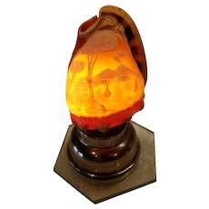 Carved Cameo Scene Conch Sea Shell Night Light