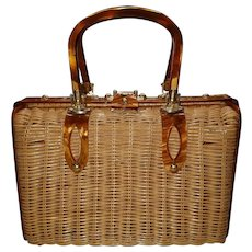Vintage Lucite Wicker Basket Purse Stylecraft Miami