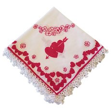 Vintage Printed Valentines Day Hanky Tatted Edges