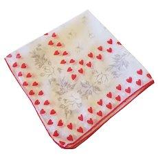 Vintage Printed Valentines Day Hanky Handkerchief Hearts Roses