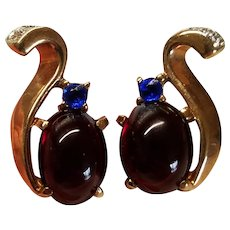 1940s Trifari Alfred Philippe Jeweled Jelly Belly Royal Crown Earrings