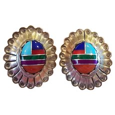 Vintage Sterling & Natural Stone Inlay Native American Earrings