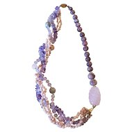 Rose Quartz, Amethyst Natural Stone Bead Necklace Silver Filigree Clasp