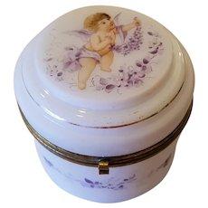 Victorian Hand Painted Cherub Dresser Jar