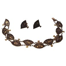 Japanese Damascene Fan Necklace and Earrings Set