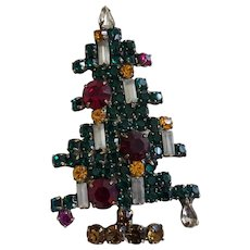 Vintage Weiss 6 Candle Christmas Tree Brooch Pin