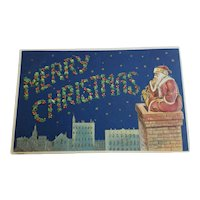 AMB Santa on Chimney Merry Christmas Postcard German