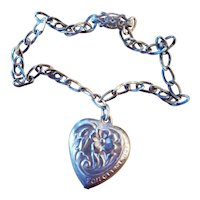 Vintage Sterling Forget Me Not Puffy Heart Charm on Child's Bracelet