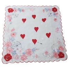 Vintage Valentines Day Printed Handkerchief Hearts Cherubs