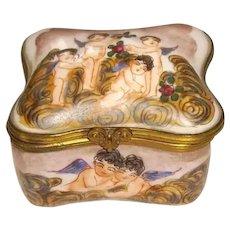 Capodimonte Italy Hand Painted Porcelain Cherub Trinket Box