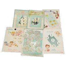 6 Cards Mother of Pearl Buttons Baby