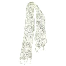 Antique Brussels Lace Scarf or Runner