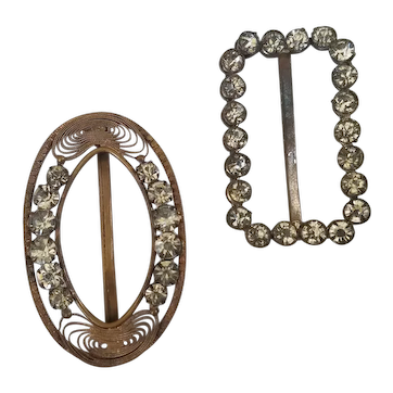 2 Small Rhinestone Belt Buckles for Doll