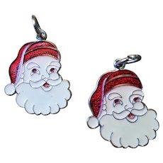 2 Vintage Sterling & Enamel Santa Face Christmas Charms