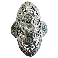 Art Deco Sterling Filigree Ring Size 7