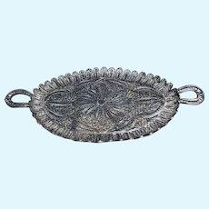 Ornate Silver Filigree Dollhouse Serving Tray Platter