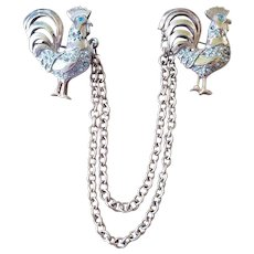 Rhinestone Rooster Chatelaine Pins Sweater Guard