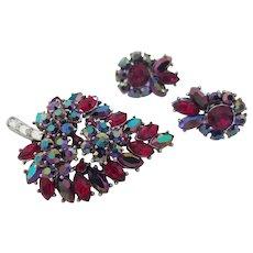 TRIFARI Red & Aurora Borealis Rhinestone Leaf Pin & Earrings Set